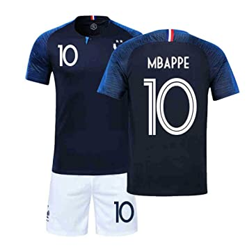 more photos ffb4f 66d68 France Football Team T-Shirt Set– Champion Jersey Soccer Uniform 2018 World  Cup Two Stars for child