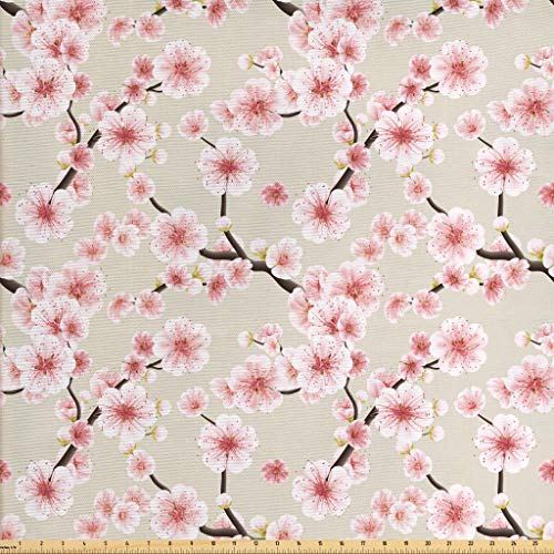 Ambesonne Asian Fabric by The Yard, Japanese Flowering Cherry Blossom Symbolic Coming of Spring Season Eastern Inspired, Decorative Fabric for Upholstery and Home Accents, 2 Yards, Beige Rose
