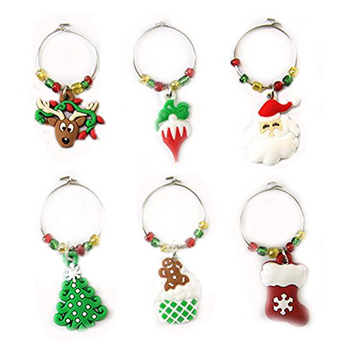 Gosear 6pcs Estilo de Navidad Copa de Vino de Vidrio encantos con Anillo de Navidad Decoraciones de Mesa Conjunto