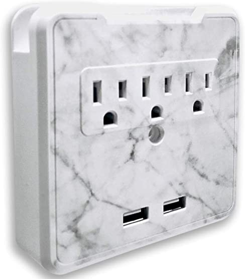 Glamsockets Decorative Wall Mount Surge Protector with 3 Outlets, Dual USB Charging Ports and Phone Holder – USB Charging Center Multi Function Wall Tap Carrara Marble