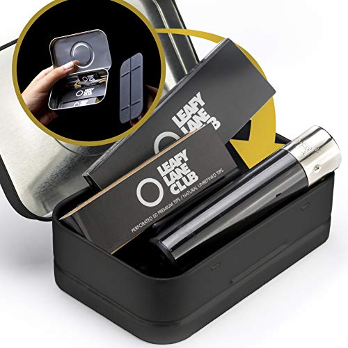 Leafy Lane Club Secret Stash Box | Portable Smoking Accessories Bundle | Luxury Accessory - Clipper Lighter - Unbleached Rolling Papers - Tips - H.Wick | Take It with You Everywhere in Your Pocket