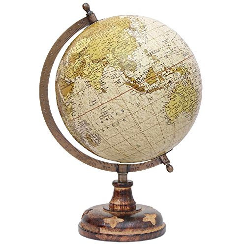 Globe – 8 inch Desktop Decorative Rotating National Geographic Wooden Antique World Globe with Stand – Big Earth Texture Vintage Political Map Globes …
