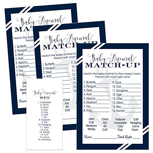 Nautical Baby Shower Games Animal Match Cards (25 -