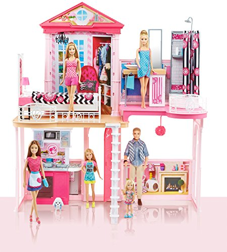 Barbie Dream House Pool Gift Set With Three Dolls 31 Inches Tall