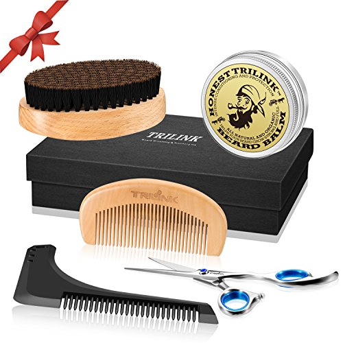 Beard Care Grooming Kit for Men - Boar Bristle Beard Brush, Wooden Comb, Natural Beard Balm Butter Wax, Barber Mustache Trimming Scissors, Beard Shaping amd Styling Tool - Valentines Gift Idea for Him