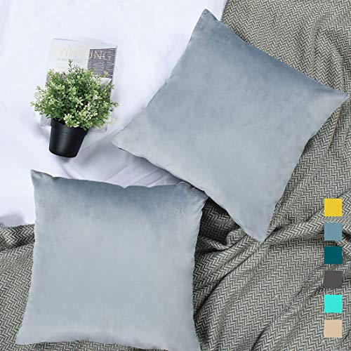 YINFUNG Silver Velvet Pillow Cover Grey 18x18 Throw Pillow Cover Gray Set of 2 Couch Pillow Covers Light Gray Sofa Decor Throw Pillow Cases Dusty Blue (And Pillows Purple Silver)