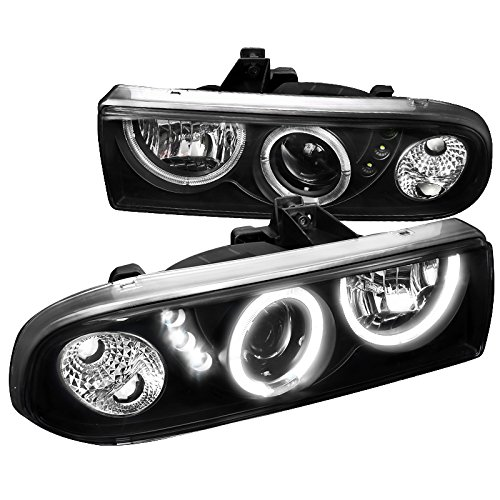 (Spec-D Tuning LHP-S1098JM-RS Chevy S10 Blazer Pickup Black Halo SMD LED DRL Projector Headlights)