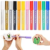 Premium Acrylic Paint Markers Pen by SOLEDI Water Resistant Art Permanent Paint Pens for Painting on Rock, Glass, Canvas, Fabric, Metal, Wood, Ceramic, Mugs, DIY Craft Projects, Set of 12 Colors