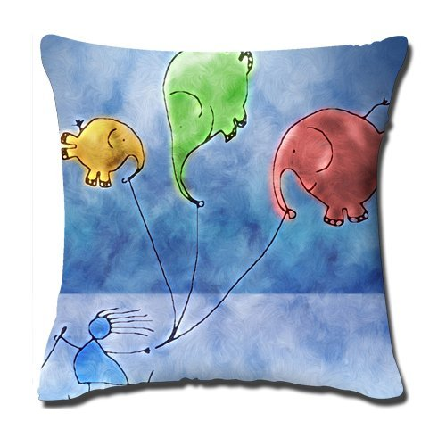 Buythecase Unique Fashion Design One side print Cloth Simulation Yellow Green And Red Flying Elephant Throw Pillow Cover(size 45 CM X 45 CM) (Pillow Monogrammed Bolster)