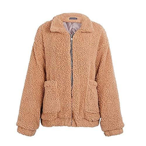 PALM TREE FASHION Women's Warm Winter Fluffy Faux Lambswool Coat Jackets (S, Brown Camel)