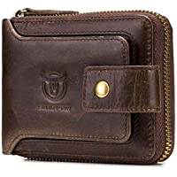 Genuine Leather Men Wallet Zipper, Womdee Mens Leather Flipout ID Wallet Bifold Trifold Hybrid for Men Large Capacity ID Window Card Case with Zip Coin Pocket