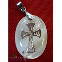 Beautiful Pure Pearl Pendant with Crucifix Cross Hand Made From Jerusalem