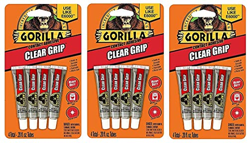 Gorilla Clear Grip Contact Adhesive Minis, Waterproof, Four .2 ounce Tubes, Clear (Тhrее Pаck) by Gorilla (Image #2)
