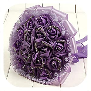 mamamoo Romantic Lace Rose Bridesmaid Wedding Bouquet Foam Handmade Flowers Rose Crystals Bridal Bouquet with Ribbon,Light Purple 75