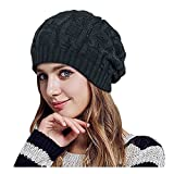 Glamorstar Unisex Cable Knitt Hat Winter Warm Thick Braided Beanie Slouchy Ski Cap Black