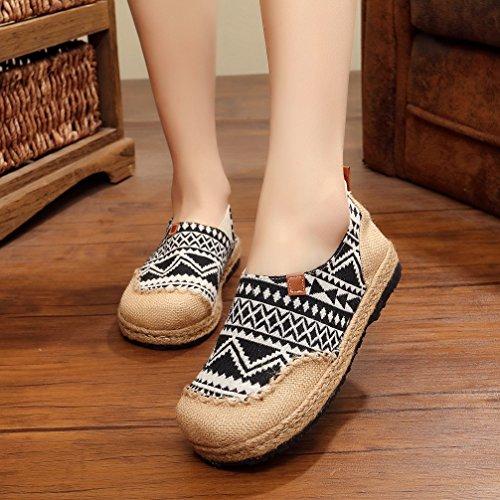 Ausom Womens Original Fashion Handmade Colorful Slip-on Round Toe Flat Line Espadrilles Loafer Canvas Shoes for Travelling Black 1z2SlIwkW
