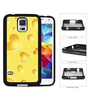 Yellow Cheese Heart Shapes Rubber Silicone TPU Cell Phone Case Samsung Galaxy S5 SM-G900