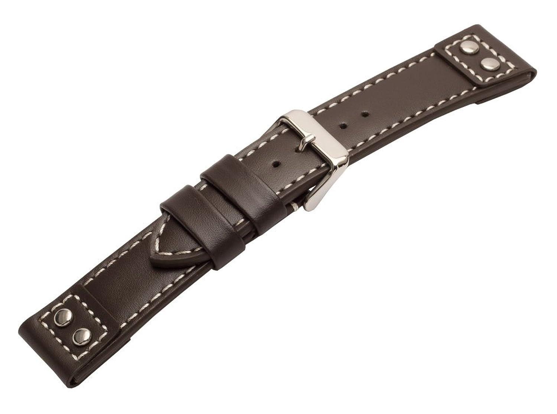 20 mmダークブラウン従来パイロットスタイル時計バンドリベット付きとコントラストステッチ  B01MYPNS78