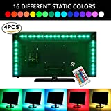 LED Strip lights USB TV Backlight Bias Lighting with Remote Control. 6.56ft 2M 5050 RGB Waterproof Light Strips Kit for HDTV, Desktop PC etc (4pcs x 50cm )