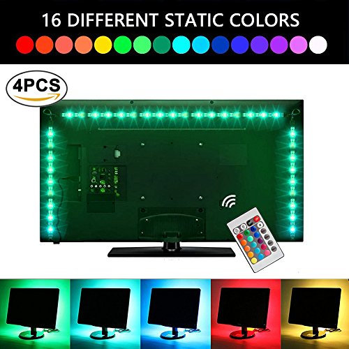 LED Strip lights USB TV Backlight Bias Lighting with Remote Control. 6.56ft 2M 5050 RGB Waterproof Light Strips Kit for HDTV, Desktop PC etc (4pcs x 50cm ) by LEN