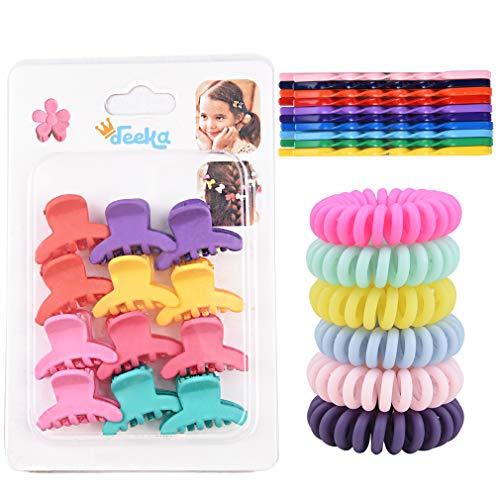 (DEEKA Bobby Hair Pins/Hair Claw Clips/Spiral Hair Ties Set Multi Colors for Girls)