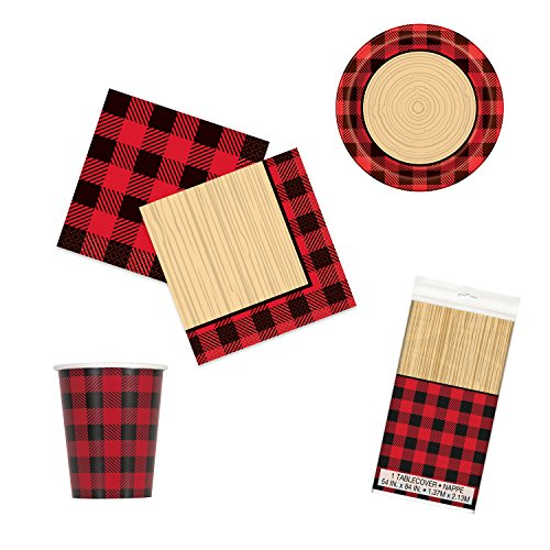Unique Plaid Lumberjack Party Bundle | Luncheon & Beverage Napkins, Dinner Plates, Table Cover, Cups | Great for Country/Rustic Birthday Themed Parties by Unique (Image #9)