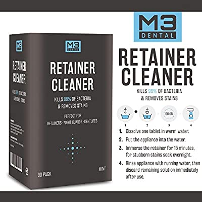 M3 Dental Retainer and Denture Cleaner Tablets Anti Bacterial Removes Bacteria Stains and Bad Odors from Dentures Invisalign Nightguard Mouth Guard Removable Dental Appliances