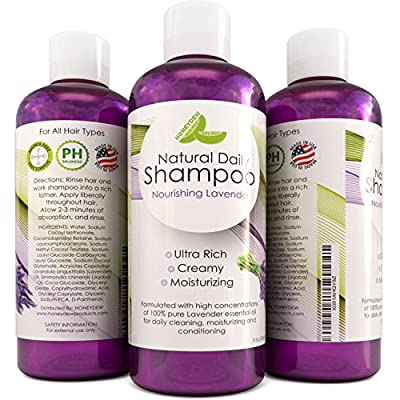 Lavender Shampoo Natural Hair Cleanser with Lavender Essential Oils for Healthy Hair Growth - Vitamin Rich Jojoba and Botanical Keratin Strengthen Dry and Damaged Hair - Daily Shampoo for Men & Women