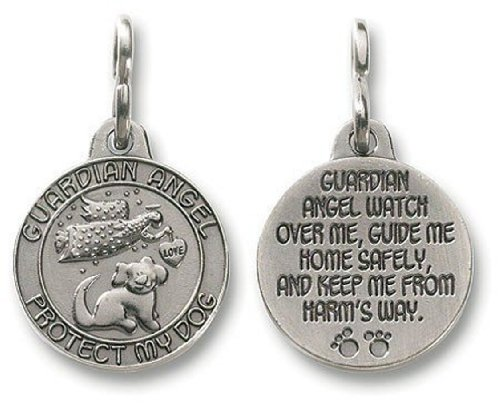 Guardian Angel Dog Pet Protection 1 Inch Pewter Medal Pendant Collar Charm