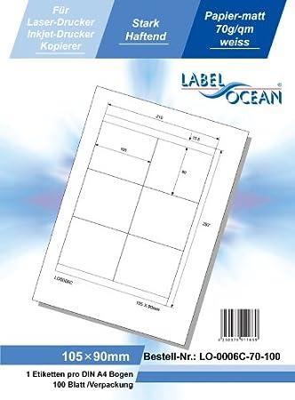 Versand-Etiketten 50 Blatt//500 Etiketten LO-0010-70-50 LabelOcean selbstklebende Universal-Etiketten 70g//qm Format: 99,1 x 57 mm wei/ß