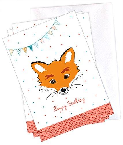 4 Cartes Postales Set Happy Birthday Renard 4 Cartes Postales A6
