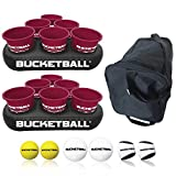 BucketBall - Team Color Edition - Party Pack (Maroon/Maroon): Original Yard Pong Game: Best Camping, Beach, Lawn, Outdoor, Family, Adult, Tailgate Game