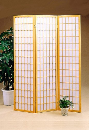 (Shoji Screen-3 Panel-Natural Fram-Rice Paper Inlay (Natural) (70 1/4