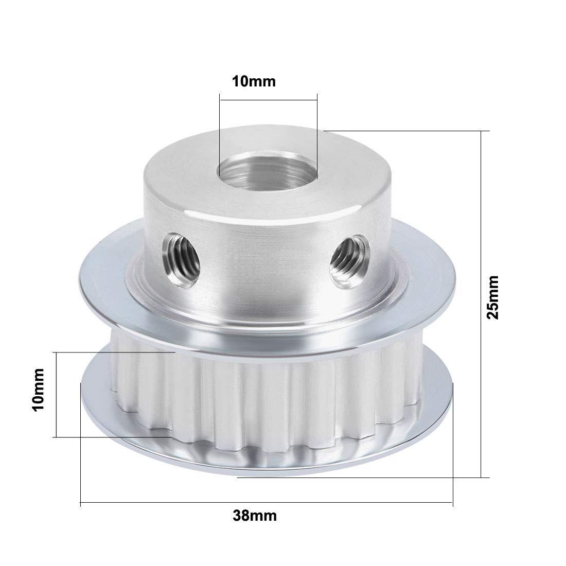 sourcing map Aluminio XL 20 Dientes 10mm diámetro Polea de Correa ...