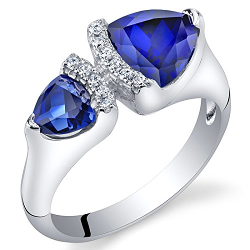 Forever Us Two Stone Created Blue Sapphire Sterling Silver Trillion Cut Ring Size 7