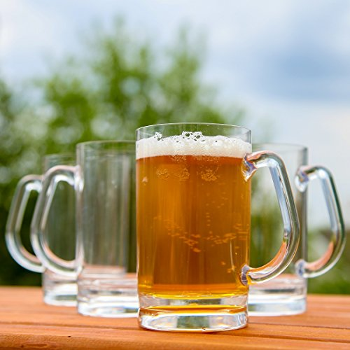 Lily's Home Tritan Acrylic Unbreakable Shatterproof Classic Beer Mug - 16 ounces Outdoor Beer Mugs (Set of 4)