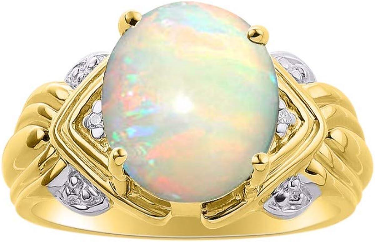 RYLOS - Anillo de mujer ovalado con gemas y diamantes brillantes auténticos en plata chapada en oro amarillo de 14 quilates, 925-12 x 10 mm, gran anillo para dedo medio o puntero