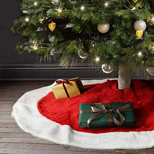 Ivenf Christmas Tree Skirt, 48 inches Large Plush Mercerized Velvet Skirt, Rustic Xmas Tree Holiday Decorations (Decorated Xmas Trees)