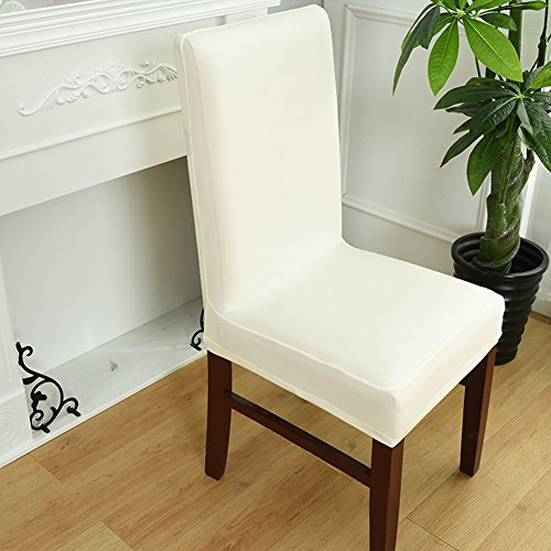 Fanjow Spandex Stretch Removable Washable Short Hotel Dining Chair Protect Cover Slipcover Stretchy Seat Cover, Banquet Chair Seat Cover for Hotel, Wedding and Ceremony (Duck Short Dining Chair Slipcovers)