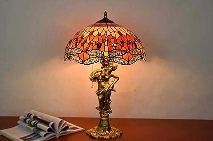 Estilo de Tiffany Lámpara de mesa Cristal de colores Sombra ...