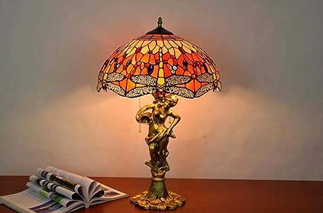 PDLFEstilo de Tiffany Lámpara de mesa Cristal de colores Sombra ...