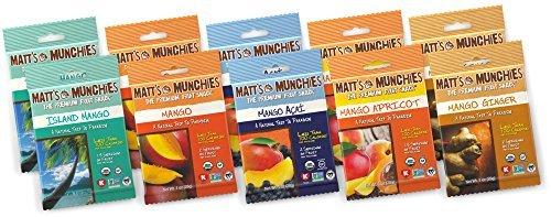 Matt's Munchies Premium Fruit Snack Ultimate Mango 5 Flavor Variety Pack (Pack of 10)each pack is 1 oz.