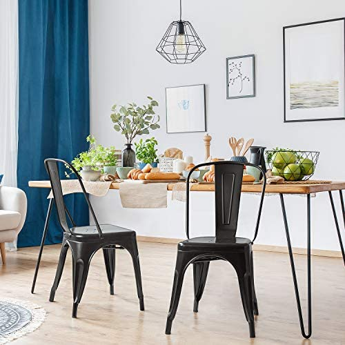 JUMMICO Metal Dining Chair Stackable Indoor-Outdoor Industrial Vintage Chairs Bistro Kitchen Cafe Side Chair