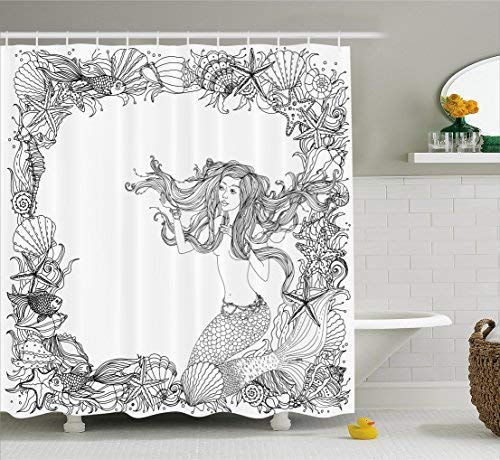 Mermaid Shower Curtain, Mermaid in Artsy Seashells Starfish Coral Reef Frame Ancient Culture Myth Artwork, Fabric Bathroom Decor Set with Hooks, 60W X 72L, Black White