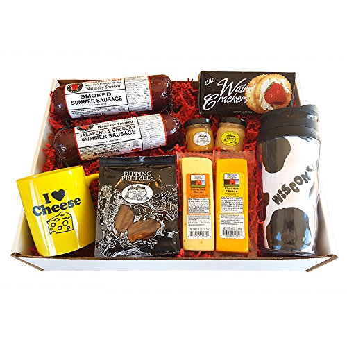 Deluxe WI Cheesehead Gift Basket - features Smoked Summer Sausages, 100% Wisconsin Cheeses, Crackers, Pretzels, Mustards, Travel Mug | Great Gift!! (Summer Gift Basket Ideas)