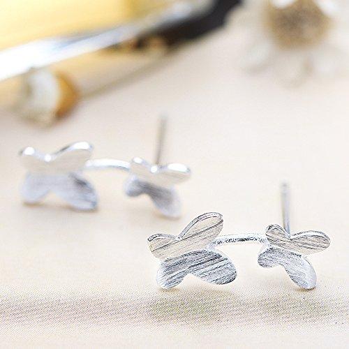 Infinite U Unique Double Papillons 925 Argent Femme/Fille Clous/Boucles d'oreilles pour Fête/Action de Grâce/Noël