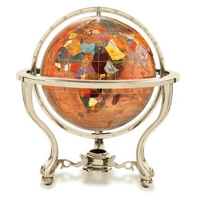 KALIFANO 9 Gemstone Globe w/ Copper Amber Opalite Ocean & Gold Colored Commander 3-Leg Table Stand by Alexander (Commander Gold Stand)