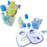 Baby Feeding Gift Set with 2 oz Bottles (2), 8 oz bottle (1), 2 Bibs, 2 Bottle Brushes, 3 Stackable Formula Containers in Polka Dot Gift Box (Blue)