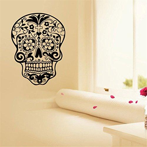 BIBITIME Halloween Skull Wall Art Decor Decals Skeleton Stickers for Rooms Removable Vinyl Art Graphic Bedroom Decal Sticker Wallpaper (DIY, 22.44