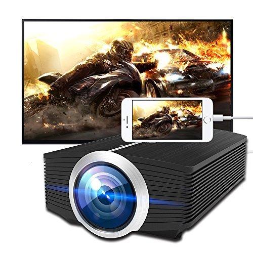 Meer LED Proyector de vídeo 1080p apoyado con VGA/AV/HDMI/USB/ranura para tarjeta SD y altavoz integrado para Home Theater...